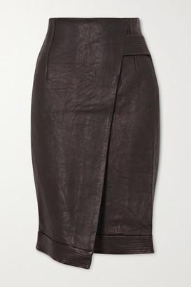 Veronica Beard Delilah Asymmetric Wrap-effect Leather Skirt - Black
