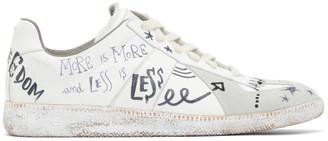 Maison Margiela White Written Graffiti Vintage Replica Sneakers