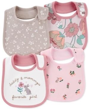 Carter's Baby Girls 4-Pk. Cotton Floral-Print Bibs
