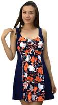 HAIZI One Piece Plus Size Swimwear Cover Ups Swimsuit Floral Swimdress For Womens