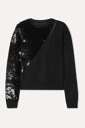 RtA Teagan Cutout Sequined Modal-blend Sweater - Black