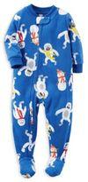 Carter's Zip-Front Yeti Fleece Footed Pajama in Blue
