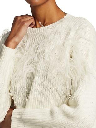 Cinq à Sept Melanie Ostrich Feather Wool-Blend Sweater