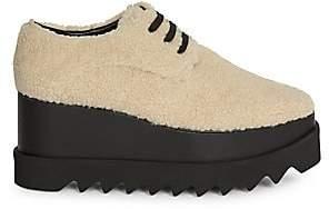 Stella McCartney Women's Elyse Faux Shearling Platform Wedge Sneakers