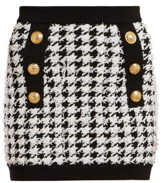 Balmain Houndstooth Mini Skirt - Womens - Black White