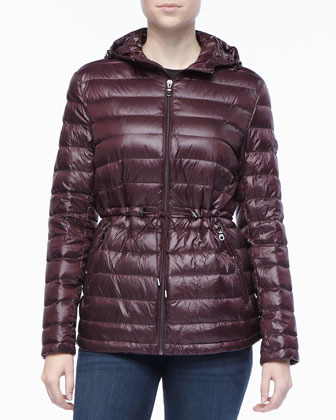 DKNY Hooded Anorak Puffer Jacket with Cinched Waist