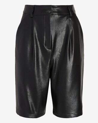 Express High Waisted Vegan Leather Bermuda Shorts