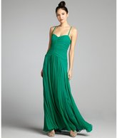 Vera Wang emerald crinkle silk chiffon pleated sweetheart gown
