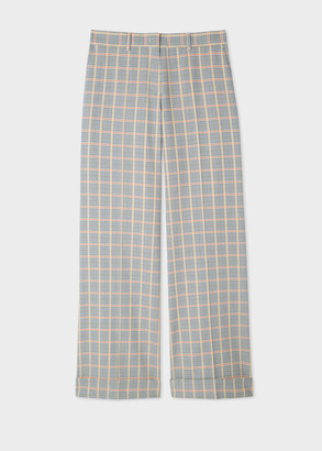 Paul Smith Women's Grey Check Cotton Wide Leg Trousers