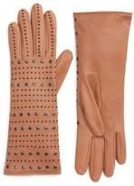Agnelle Women's Studded Lambskin Leather Gloves