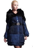 Basic Editions Women's Cotton Coat Pleated Bottom Shawl Fur Winter Jacket