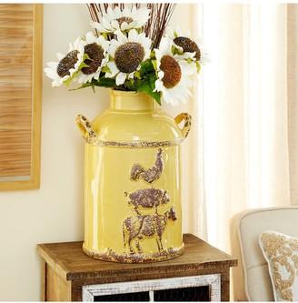 "Willow Row Yellow 12"" Ceramic Milk Jug"