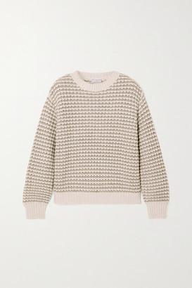 Brunello Cucinelli Metallic Striped Ribbed-knit Sweater - Ivory