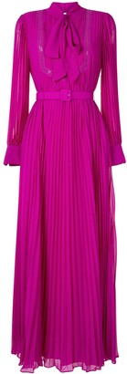 Self-Portrait Pussy Bow Pleated Maxi Dress