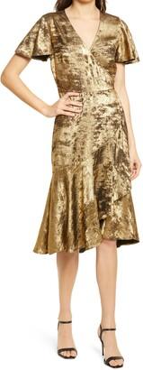 Chelsea28 Metallic Ruffle Dress