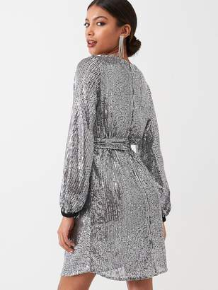 River Island Sequin Belted Dress - Silver