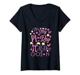 Pi Womens Day Birthday 3.14 - March 14 Women Mathematician Gift V-Neck T-Shirt