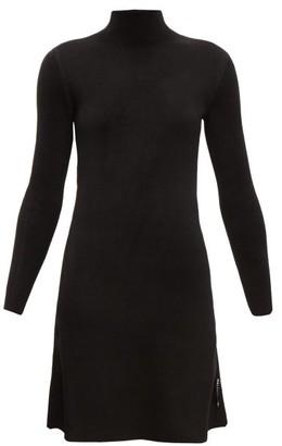 Balenciaga Logo-tab High-neck Velvet Dress - Black