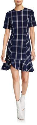 Shoshanna Layton Plaid Textured Crepe Short-Sleeve Dress