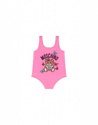 Moschino One-piece Swimsuit Butterflies Teddy Bear Unisex Pink Size 2a