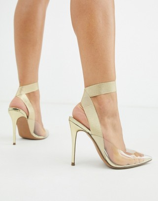 ASOS DESIGN Partner elastic stiletto heels in gold
