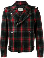 Gucci plaid biker jacket - men - Goat Skin/Cupro/Wool - 52