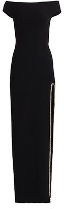 Stella McCartney Cady Off-The-Shoulder Evening Gown