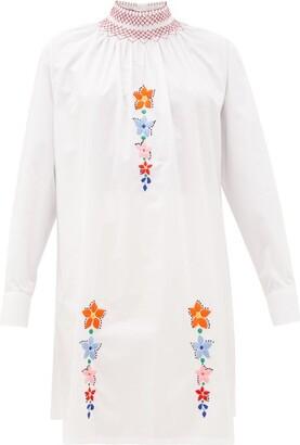 Prada Floral-embroidered Cotton-poplin Tunic Blouse - Womens - White Multi