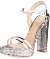 Gianvito Rossi Metallic Textured Platform Sandal