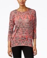 Kensie Three-Quarter-Sleeve Printed T-Shirt