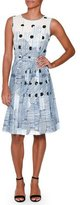Piazza Sempione Sleeveless Deco-Dot Dress, Blue/Multi