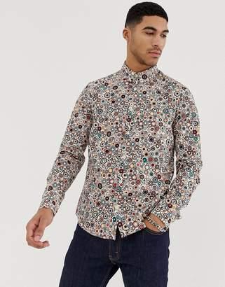 Pretty Green target print slim fit shirt in stone-Multi