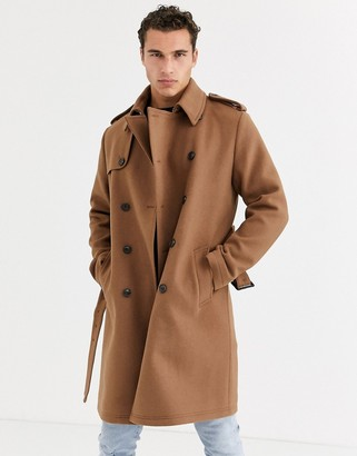 ASOS DESIGN double breasted trench coat in camel