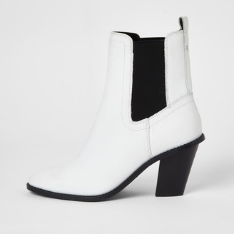 River Island Womens White leather western high heeled boot