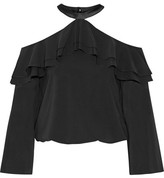 Alice + Olivia Layla Ruffled Satin-trimmed Silk-blend Top - Black