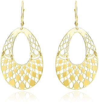Mayamila 14k Yellow Gold Teardrop Filigree Design Graduated Open Teardrop Earrings