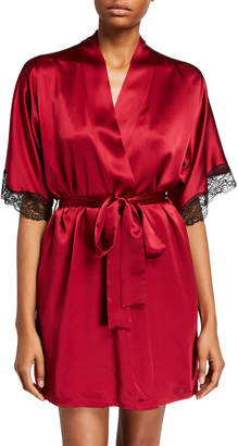 Christine Lingerie Bijoux Silk Short Robe w/ Lace Trim