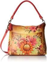 Anuschka Handpainted Leather Convertible Shoulder Bag, Fall Bouquet