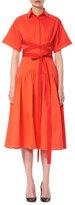 Carolina Herrera Short-Sleeve Wrap Shirtdress, Red