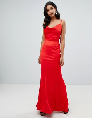 Lipsy cowl neck maxi dress in red