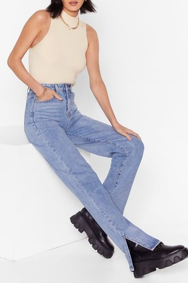 Nasty Gal Womens Slit's Now or Never High-Waisted Jeans - Light Blue