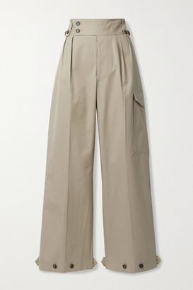 Maison Margiela Button-detailed Pleated Cotton-gabardine Wide-leg Pants - Beige