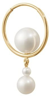 Sophie Bille Brahe Wild Beauty 14K Yellow Gold & 3-8MM Pearl Babylon Elipse Single Hoop Earring