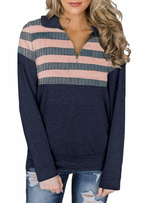 LOSRLY Womens Casual 1/4 Zip Sweatershirt Long Sleeve High Collar Pullover Tunic Top with Pocket Pink