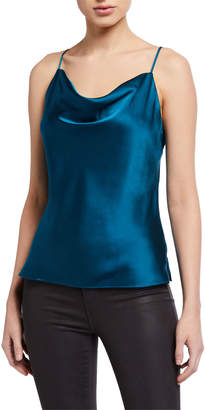 L'Agence Kay Cowl-Neck Silk Charmeuse Tank