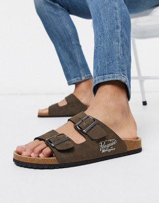 Original Penguin buckle sandal in brown