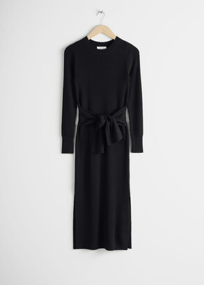 And other stories Belted Rib Midi Dress