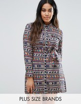 Koko Plus Shirt Dress In Floral Stripe Print