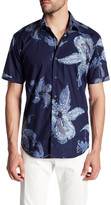 Bugatchi Trim Fit Print Short Sleeve Shirt