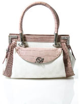 Blumarine White Pink Leather Silver Tone Rhinestone Satchel Handbag
